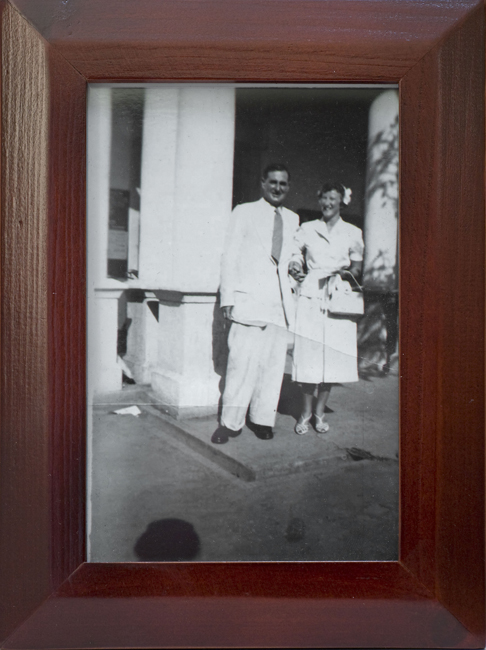 Framed wedding photograph of Colin and Molly Manning