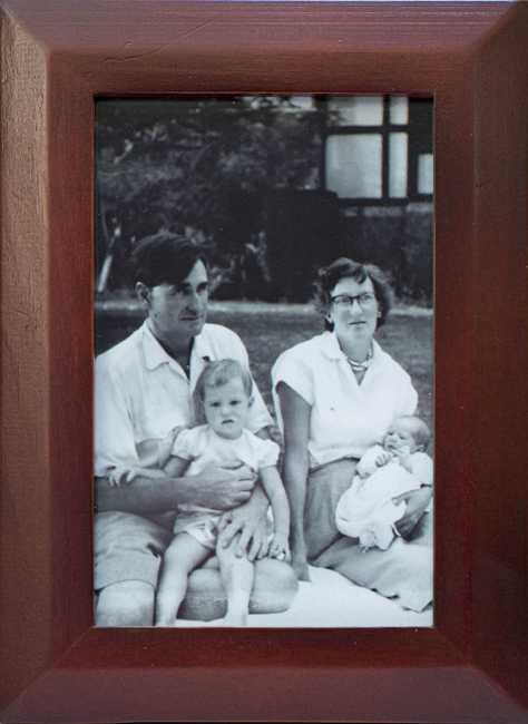Framed photograph of Colin and Molly Manning with their two children