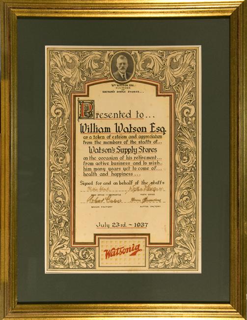 Presented to William Watson